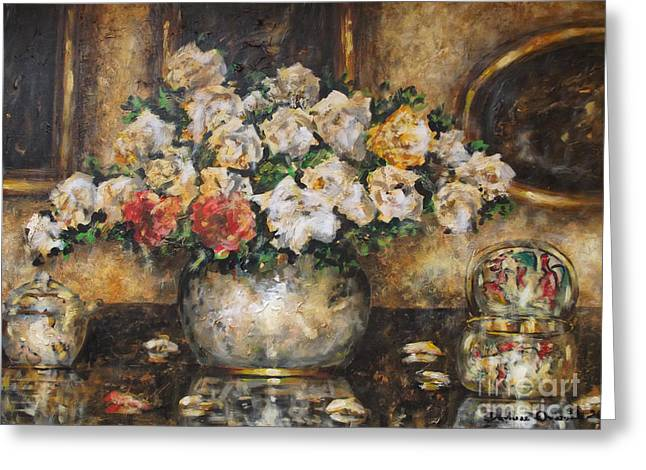 Glass Vase Greeting Cards - Flowers of My Heart Greeting Card by Dariusz Orszulik