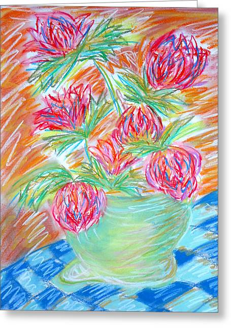 Checker Pastels Greeting Cards - Flowers on a Checkered Tablecloth Greeting Card by Elizabeth Cassidy