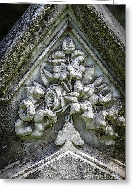 White Marble Greeting Cards - Flowers on a grave stone Greeting Card by Edward Fielding
