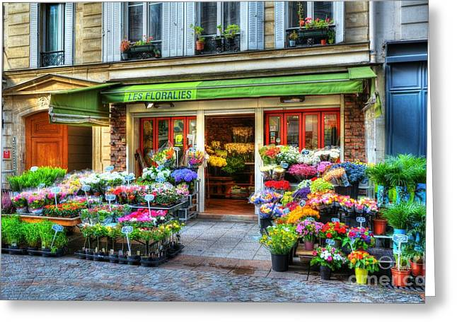Yellow Flower Pot Greeting Cards - Flowers On Rue Cler Greeting Card by Mel Steinhauer