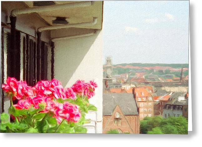 Flowers on the Balcony Greeting Card by Jeff Kolker