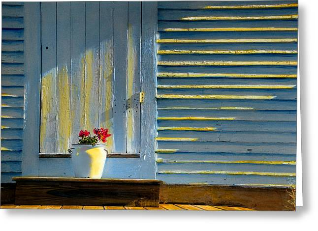 Clapboard House Paintings Greeting Cards - Flowers on the Porch Greeting Card by Cindy McIntyre