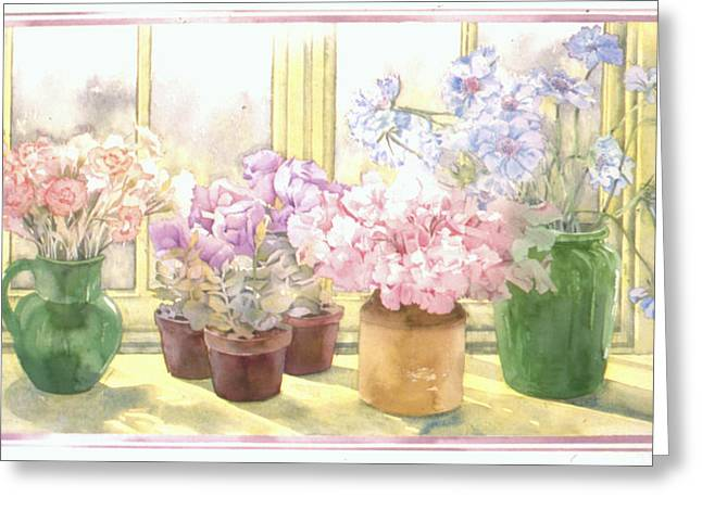 """indoor"" Still Life Greeting Cards - Flowers On The Windowsill Greeting Card by Julia Rowntree"