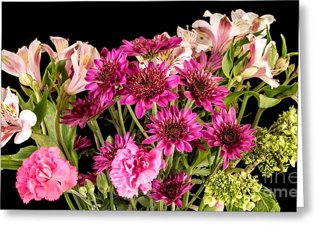 Flower Still Life Greeting Cards - Flowers over black Greeting Card by Edward Fielding