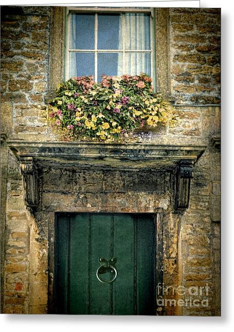 Charming Cottage Greeting Cards - Flowers Over Doorway Greeting Card by Jill Battaglia