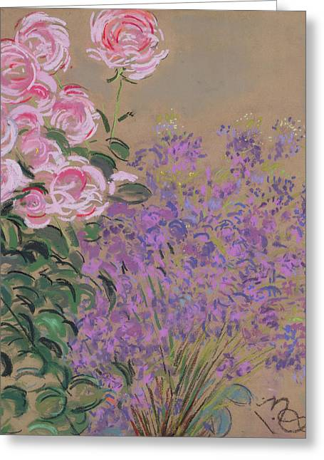 Fleur Greeting Cards - Flowers Pastel On Paper Greeting Card by Anna de Noailles