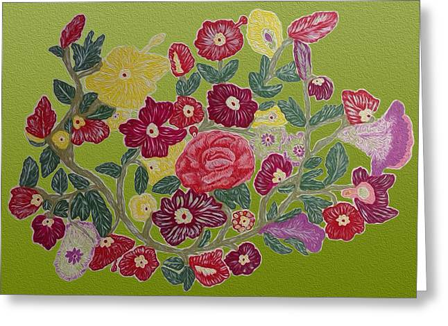 Roses Tapestries - Textiles Greeting Cards - Flowers Greeting Card by Phongsri Smeaton