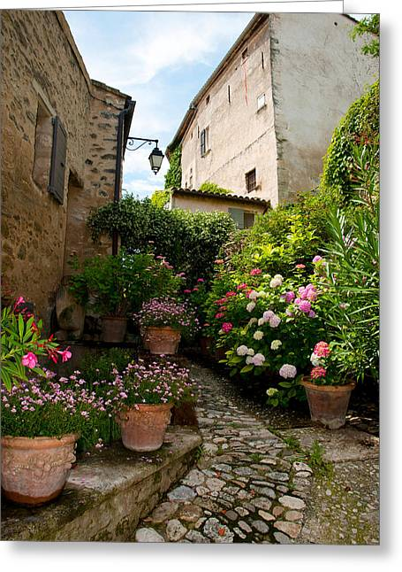 Green Lantern Photographs Greeting Cards - Flowers Pots On Street, Lacoste Greeting Card by Panoramic Images