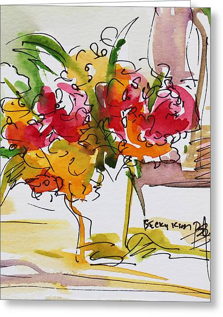 Watercolor With Pen Mixed Media Greeting Cards - Flowers Red and Yellow Greeting Card by Becky Kim