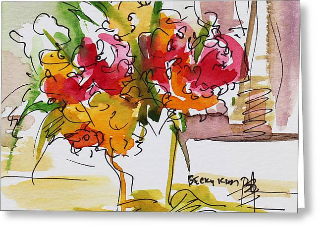 Flowers Red and Yellow Greeting Card by Becky Kim