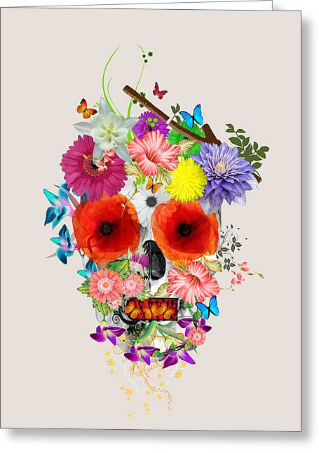 Flowers Scull  Greeting Card by Mark Ashkenazi