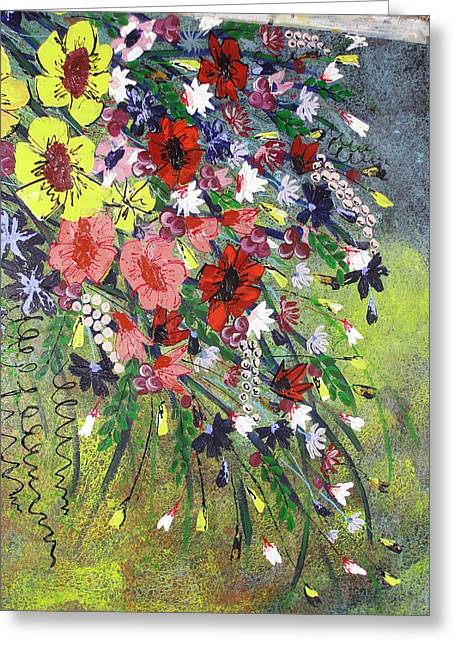 Pallet Knife Greeting Cards - Flowers Greeting Card by Shilpi Singh