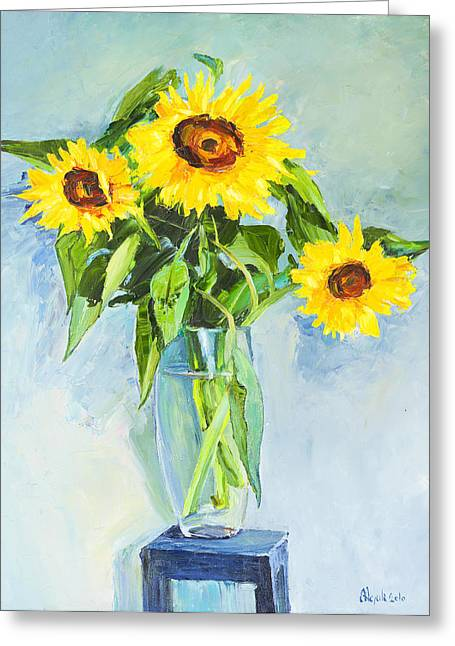 Blue Grapes Drawings Greeting Cards - Flowers Sunflowers Greeting Card by Alexander Maslik