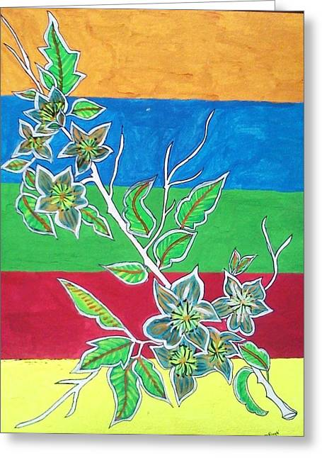 Hike Drawings Greeting Cards - Flowers  Greeting Card by Swati Panchal