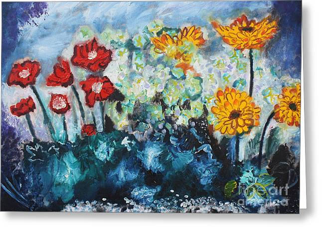 Michael Kulick Greeting Cards - Flowers through the storm Greeting Card by Michael Kulick