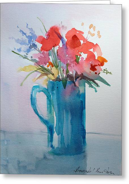 Water Jug Greeting Cards - Flowers waiting for Wine Greeting Card by Annabel Burton