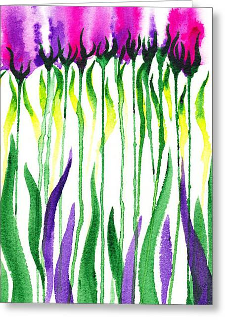 Purple Greeting Cards - Flowers Watercolor Decorative Design Fantasy I Greeting Card by Irina Sztukowski