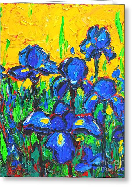 Recently Sold -  - Green And Yellow Abstract Greeting Cards - Flowers - Wild Irises Greeting Card by Ana Maria Edulescu