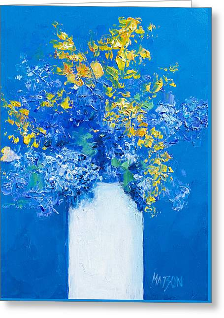 Flower Still Life Prints Greeting Cards - Flowers with blue background Greeting Card by Jan Matson