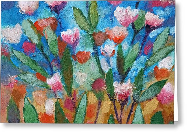 Painted Flowers Greeting Cards - Flowers with blue Greeting Card by Lutz Baar