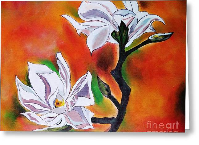Flowers With Colors Greeting Card by Jyoti Vats