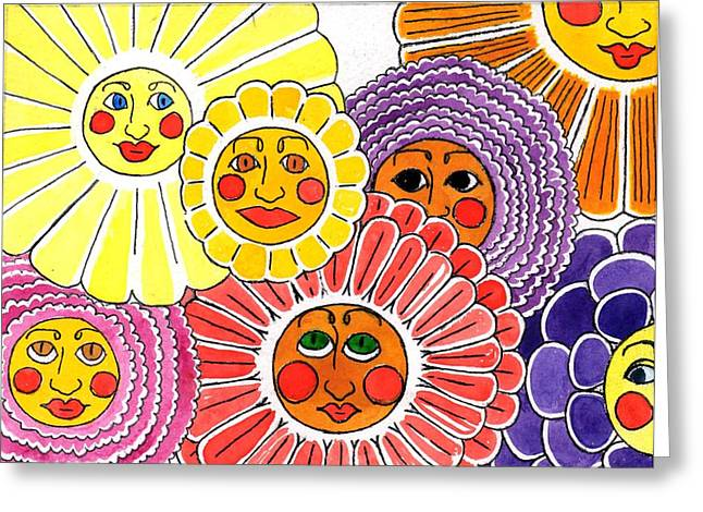 Yellow Flowers Stretched Prints Greeting Cards - Flowers With Faces Greeting Card by Genevieve Esson