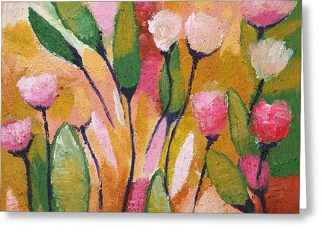 Painted Flowers Greeting Cards - Flowers with yellow Greeting Card by Lutz Baar