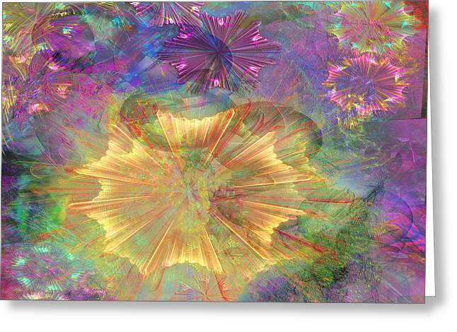 Fireworks Mixed Media Greeting Cards - Flowerworks - Square Version Greeting Card by John Robert Beck