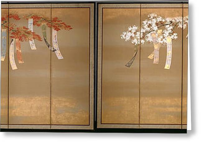 Cherry Blossoms Paintings Greeting Cards - Flowery Cherry and Autumn Maple with Poem Slips Greeting Card by Tosa Mitsuoki