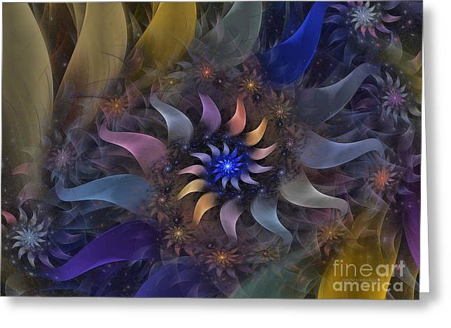 Flowery Fractal Composition With Stardust Greeting Card by Karin Kuhlmann