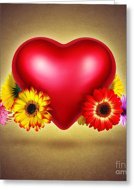 Texture Flower Greeting Cards - Flowery Heart Greeting Card by Carlos Caetano