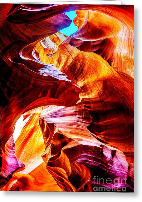 Slot Canyon Greeting Cards - Flowing Greeting Card by Az Jackson