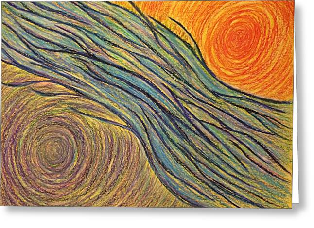 Transformations Pastels Greeting Cards - Flowing Energy #1 Greeting Card by Jamie Rogers