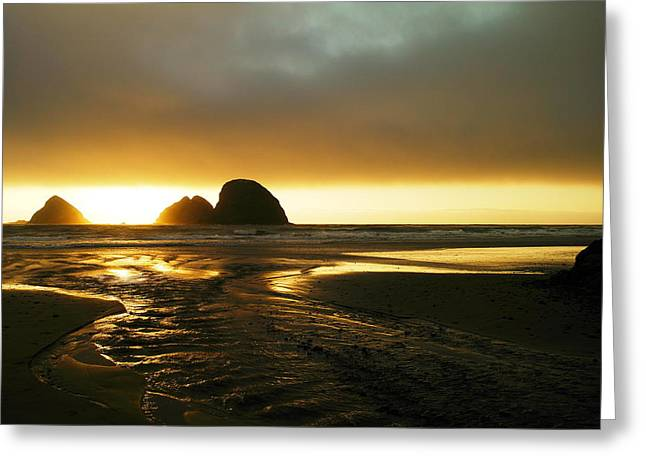 Dream Scape Greeting Cards - Flowing Into The Ocean Greeting Card by Jeff  Swan