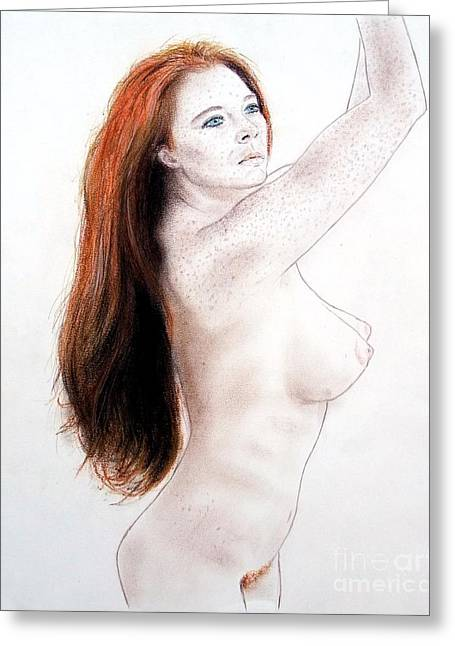 Flowing Drawings Greeting Cards - Flowing Long Red Hair and Freckles Greeting Card by Jim Fitzpatrick