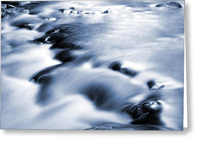 Water Flowing Greeting Cards - Flowing stream Greeting Card by Les Cunliffe
