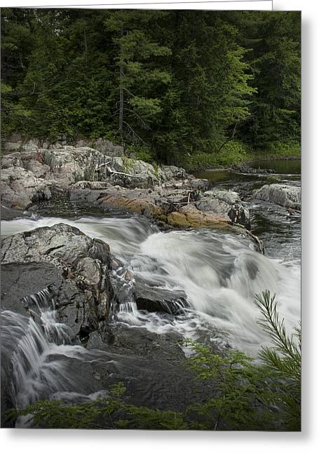 Randy Greeting Cards - Flowing Stream with Waterfall in Vermont Greeting Card by Randall Nyhof