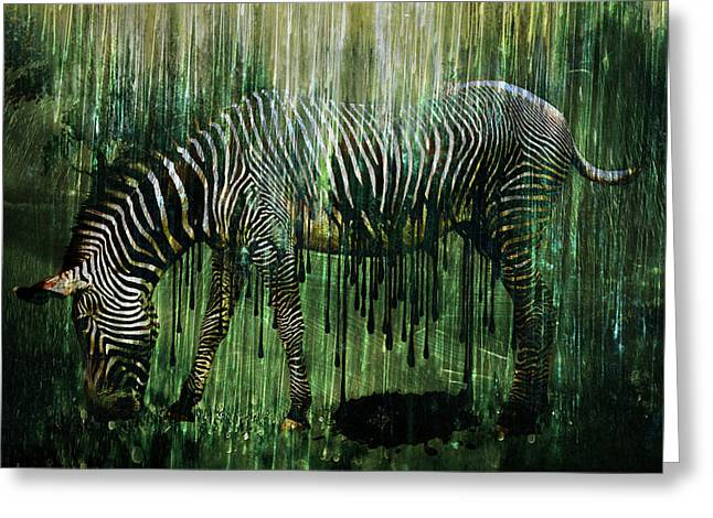 Digital Collage Greeting Cards - Flowing Stripes Greeting Card by Marian Voicu