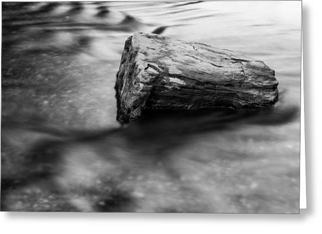 Crisp Greeting Cards - Flowing Water - Black and White Greeting Card by Shelby  Young