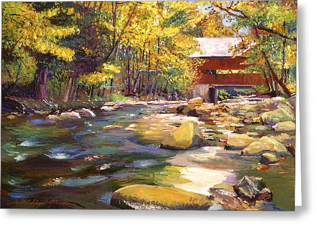 Covered Bridge Greeting Cards - Flowing Water At Red Bridge Greeting Card by David Lloyd Glover