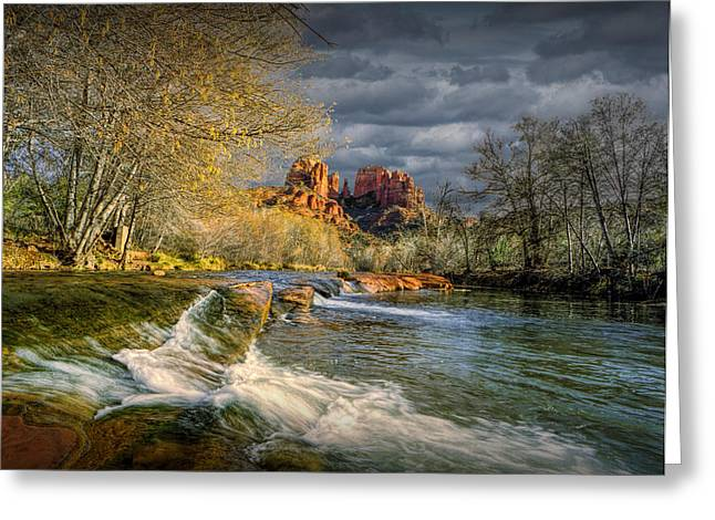 Randy Greeting Cards - Flowing Water by Cathedral Rock Greeting Card by Randall Nyhof