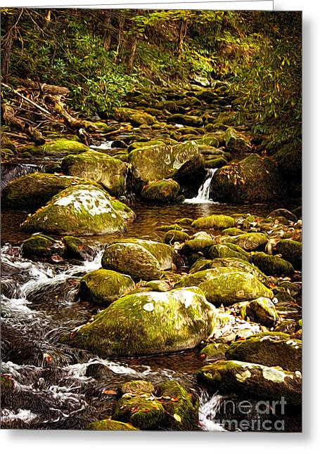 Stream Digital Greeting Cards - Flowing Water Greeting Card by Lena Auxier