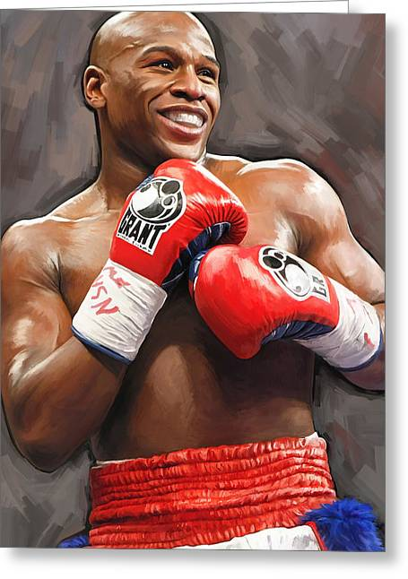 Boxing Greeting Cards - Floyd Mayweather Artwork Greeting Card by Sheraz A