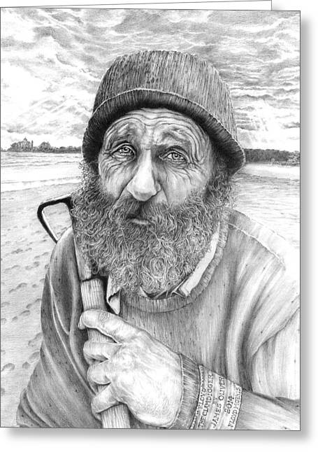 New England Ocean Drawings Greeting Cards - Floyd The Clam Digger Greeting Card by James Oliver