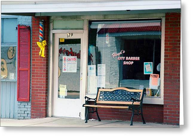 Mt. Airy Greeting Cards - Floyds Barber Shop NC Greeting Card by Bob Pardue