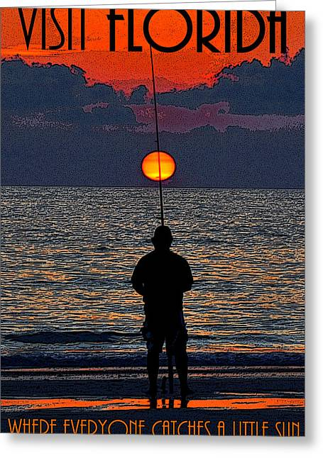 Sunset Posters Greeting Cards - Visit Florida poster work A Greeting Card by David Lee Thompson