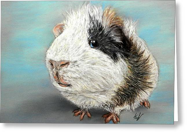 Pigs Pastels Greeting Cards - Fluffball Greeting Card by Hannah Taylor