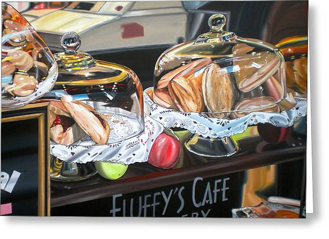 Anthony Mezza Paintings Greeting Cards - Fluffys Cafe Greeting Card by Anthony Mezza