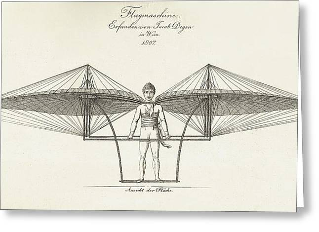 Flyer Greeting Cards - Flugmaschine  1807 Greeting Card by Daniel Hagerman