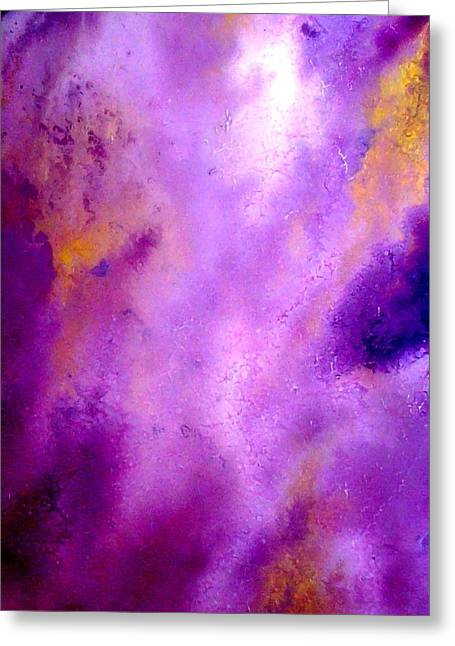 Recently Sold -  - Purple Abstract Greeting Cards - fluid acrylic purple and gold painting Angels Greeting Card by Holly Anderson